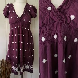 Cute Options   purple & white embroidered dress L